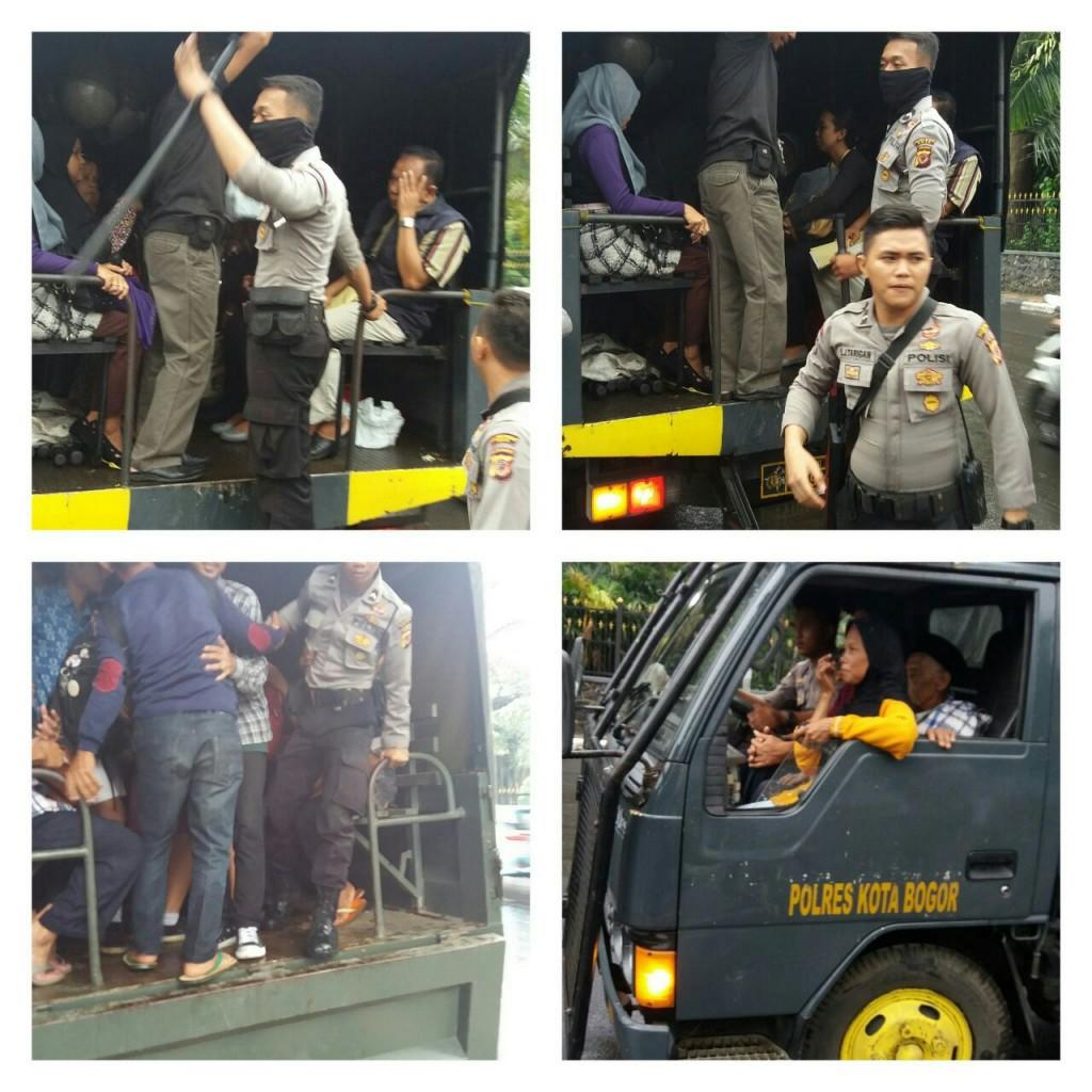 Polres Bogor Kota terjunkan Truk Dinas untuk angkut penumpang yang  terlantar akibat Supir Angkot yang demo 3c3b73894628a