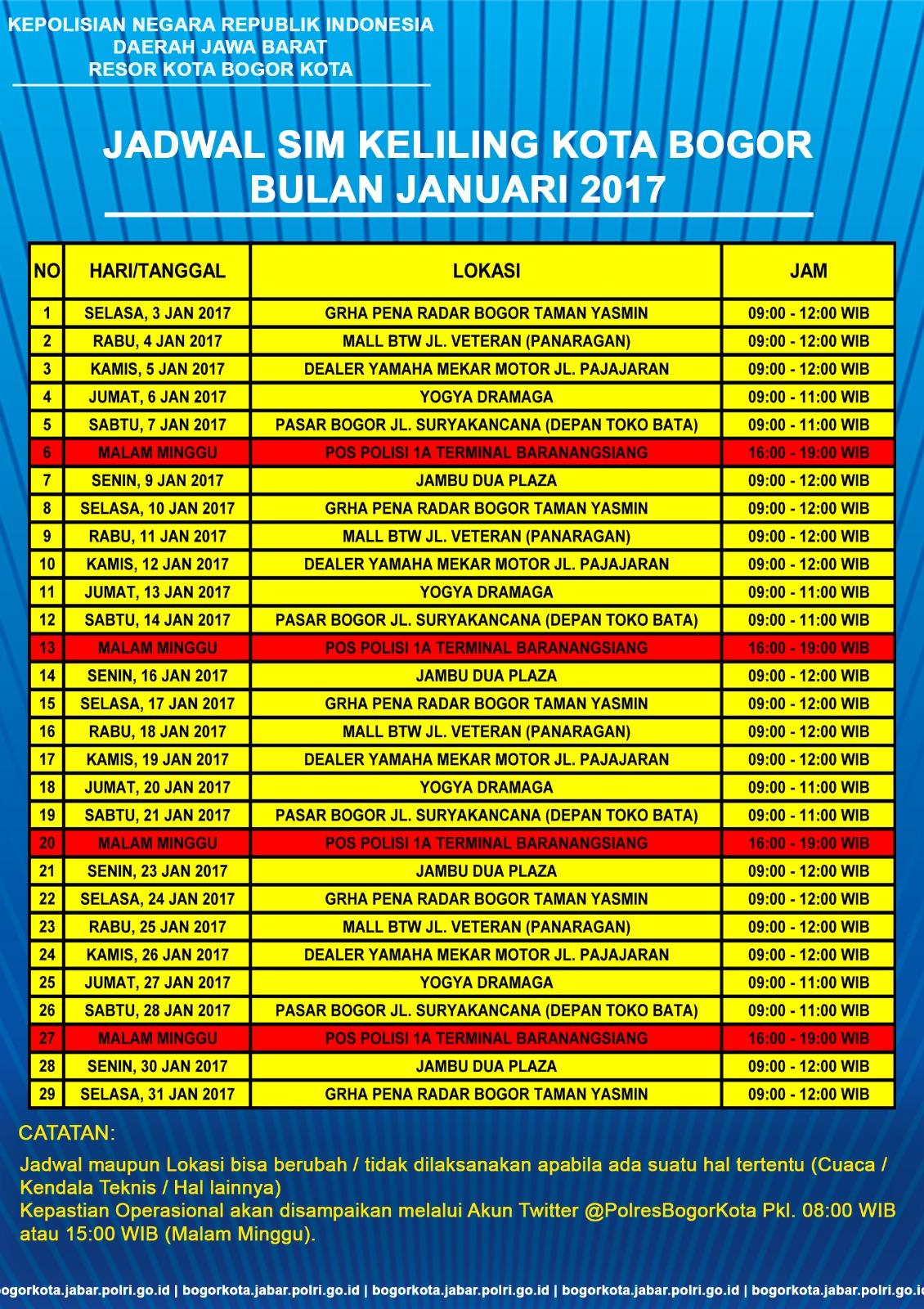 Jadwal SIM Keliling Polres Kota Bogor Kota Januari 2017